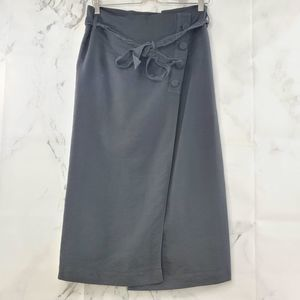 Helmut Lang Wrap Front Tie Midi Skirt